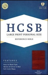HCSB Large Print Personal Size Bible, Brown LeatherTouch, Thumb-Indexed