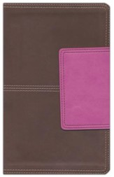 HCSB Ultrathin Reference Bible, Brown and Pink LeatherTouch with Magnetic Flap, Thumb-Indexed - Slightly Imperfect