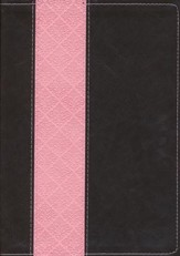 NKJV: Life Application Study Bible Large Print TuTone Leatherlike Brown/Pink Index - Imperfectly Imprinted Bibles
