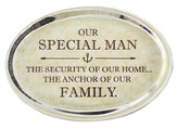 Special Man Glass Oval Paperweight