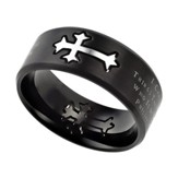 Christ My Strength, Neo Cross Scripture Ring, Black, Size 10