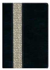 NLT Life Application Study Bible, TuTone Imitation Leather, Black/Vintage Ivory with Floral Design