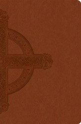 NLT Premium Value Slimline Bible, Large Print, Cross, Imitation Leather, Sienna with Cross Design - Slightly Imperfect