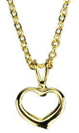 Open Heart Necklace, Gold Filled