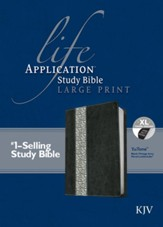 KJV Life Application Study Bible, Large Print Black/Vintage Ivory Floral Indexed Leatherlike