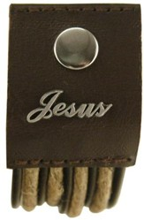 Jesus, Hemp and Leather Pewter Word Bracelet