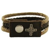 Square Filigree Cross, Leather and Hemp, Pewter Bracelet