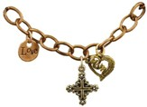 Love, Square Filigree Cross, Mom, Tri-Tone Bracelet