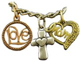 Love, Cross, Mom Heart, Tri-Tone Bracelet