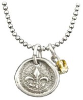 Fleur De Lis Necklace, with Topaz