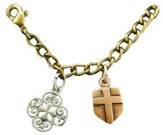 Filigree Cross, Shield Cross, Tri-Tone Bracelet