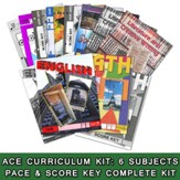 ACE Comprehensive Curriculum (6  Subjects), Single Student Complete PACE & Score Key Kit, Grade 5, 3rd Edition (with 4th Edition Social Studies)
