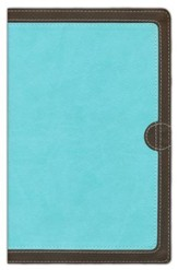 NIV Thinline Bible, Italian Duo-Tone, Chocolate/Turquoise - Slightly Imperfect