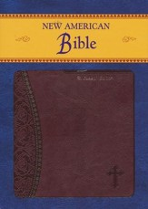 St Joseph, New American Bible, Burgundy, Imitation Leather, Medium, Gift Edition - Imperfectly Imprinted Bibles