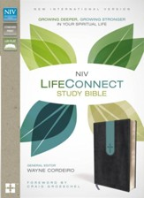 NIV Life Connect Study Bible--soft leather-look, gray/dusty blue