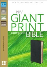 NIV Compact Bible, Giant Print, Premium Leather, Ebony - Slightly Imperfect