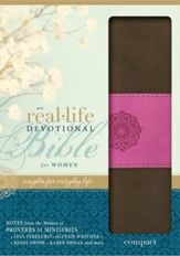 NIV Real-Life Devotional Bible for Women, Compact: Insights for Everyday Life, Italian Duo-Tone, Chocolate/Orchid