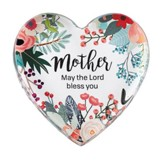 Mother May the Lord Bless You Glass Heart Paperweight