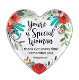 You're a Special Woman, Philippians 1:3, Glass Heart Paperweight