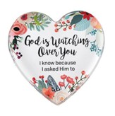 God is Watching Over You Glass Heart Paperweight