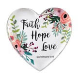 Faith, Hope, Love, 1 Corinthians 13:13, Glass Heart Paperweight