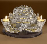 Jerusalem/Shofars Candle Holder, Silver Plated