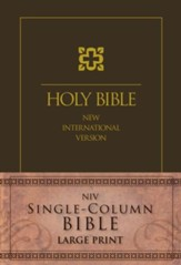 NIV Single-Column Bible Large Print, Brown - Slightly Imperfect