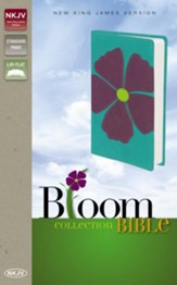 NKJV Bloom Collection Bible, Italian Duo-Tone, Periwinkle Flax