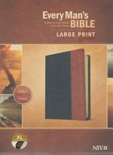 NIV Every Man's Bible, Large Print, TuTone, LeatherLike, Tan, With thumb index - Imperfectly Imprinted Bibles