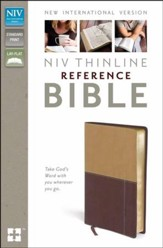 NIV Thinline Reference Bible, Camel/Burgundy Duo-Tone