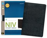 NIV Study Bible, Large Print, Bonded Leather Black, Thumb-Indexed  - Slightly Imperfect