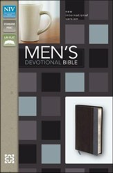 NIV Men's Devotional Bible, Italian Duo-Tone, Charcoal/Steel Blue - Imperfectly Imprinted Bibles