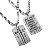 Armor of God Chain Cross Necklace, Silver