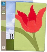 NIV Thinline Bloom Collection Bible, Imitation Leather, Red Tulip