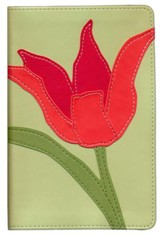 NIV Thinline Bloom Collection Bible, Compact Red, Imitation Leather, Tulip