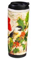 Holiday Birds Ceramic Stainless Steel Travel Mug
