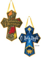 Reversible Holiday Cross, Hanging Decoration