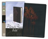 NIV Thinline, Forget-Me-Nots, Flora and Fauna Collection Bible, Italian Duo-Tone, Metallic Black