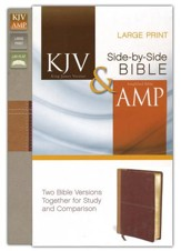 KJV and Amplified Side-by-Side Bible, Italian Duo-Tone, Camel/Rich Red, Large Print - Slightly Imperfect