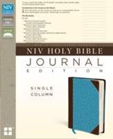 NIV Journal Edition, Single Column--soft leather-look chocolate/turquoise