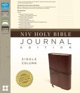 NIV, Journal Edition, Single Column; Premium Leather Brown  - Slightly Imperfect