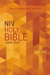NIV Large-Print Outreach Bible--softcover, orange cross