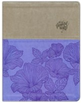 NIV, Beautiful Word Coloring Bible, Large Print, Imitation Leather, Purple and Tan