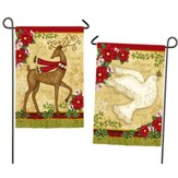 Peace On Earth Reindeer & Dove Flag, Small