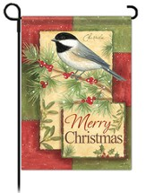Merry Christmas Garden Flag, Chickadee