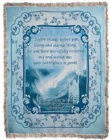 I Offer Thanks Throw Blanket Blue