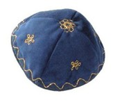 Bright Blue Velvet Kippah