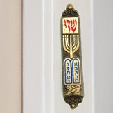 10 Commandments Menorah Mezuzah, Brass