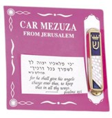 Car Mezuzah Blue Enamel Wailing Wall w/Crown Shin