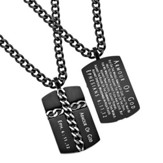 Armor of God Chain Cross Necklace, Black